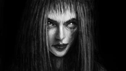 Pretty face of scarred girl appears from darkness and smiles.