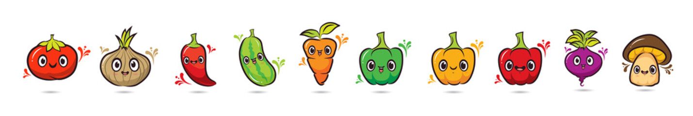Cute face cartoon vegetables characters