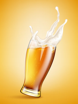 Glass with splashing beer