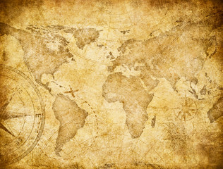 Wall Mural - Vintage world map based on image furnished by NASA