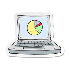 sticker of a cartoon laptop computer with pie chart