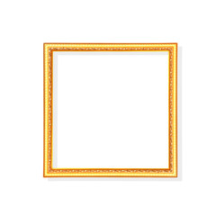 Gold or  bright yellow picture frame with  carving in leaves patterns isolated on white background with clipping path