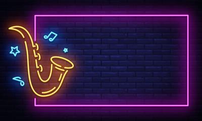 Jazz Music Neon Signboard in Frame Vector. Live music neon sign, design template, modern trend design, night neon signboard, night bright advertising, light banner. Vector illustration