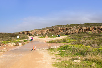 In spring there is a lot of water on the Akamas Peninsula. Tourists on the way to the Avakas Gorge - Cyprus