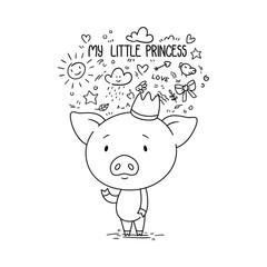 My little princess. Cute piggy in crown.