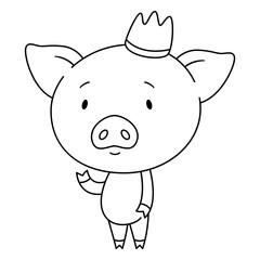 Cute piggy in crown.