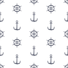 Ship wheel and anchor pattern.