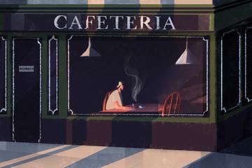 Man smoking in cafeteria