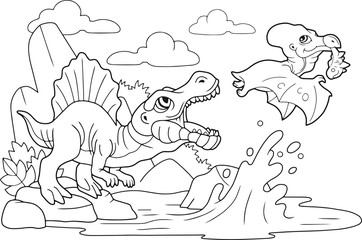 cartoon cute prehistoric dinosaurs, coloring book, funny illustration