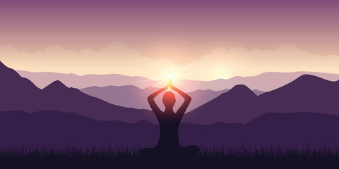 peaceful meditation in the mountains purple landscape with sunshine vector illustration EPS10