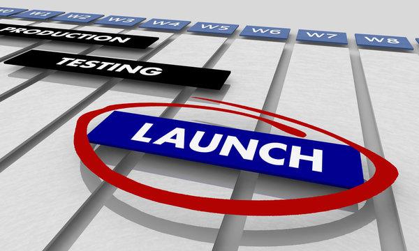 Launch Production Testing Development Phases Gantt Chart Timeline 3d Illustration