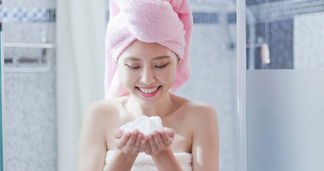 woman with facial Cleansing foam