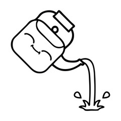 line drawing cartoon pouring kettle