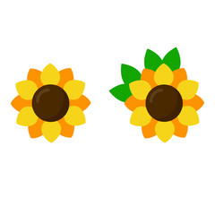 cartoon sunflowers set vector image