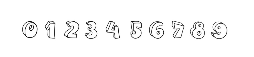 Vector hand drawn 3D line art numbers set. Signs as sketched art, ouline font. Latin alphabet numbers from 1 to 0. Isolated without background. Funny text for birthday party, creative numeric text. Wall mural