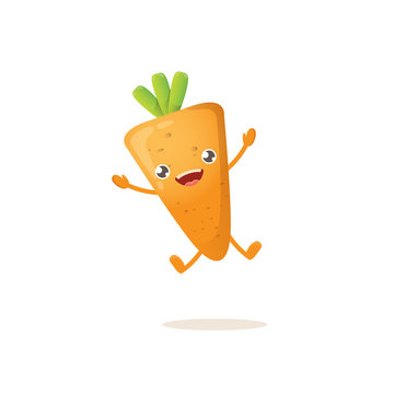 cartoon happy tiny baby carrot character isolated on white background. Healthy food label or world vegan day concept