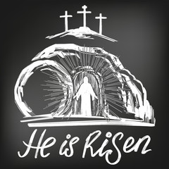 Easter Jesus Christ rose from the dead. Sunday morning. Dawn. The empty tomb in the background of the crucifixion. symbol of Christianity vector illustration sketch, , drawn in chalk on a black Board
