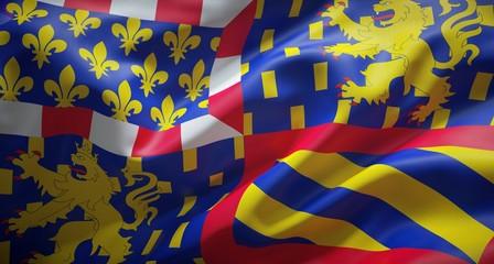 Drapeau officiel de grande région Bourgogne Franche Comté.