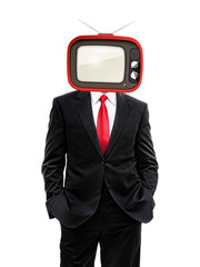 business man with retro tv on his head