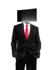 business man with monitor on his head