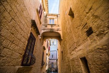 Mdina, Malta - November, 2018: beautiful view of ancient narrow medieval street town Mdina, Malta