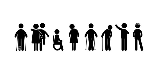 Mentally and physically disabled. Black pictograms