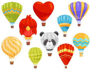 Hot air balloon concept. Vector flat illustration.