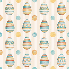 Easter pattern in watercolor style. Beautiful seamless pattern with easter. Can be used for printed products: wallpaper, wrapping paper, napkins, cards, stickers, printing on fabrics.