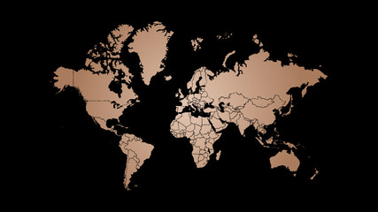 Copper world map illustration, copper foil texture and hand drawn national borders on black background.