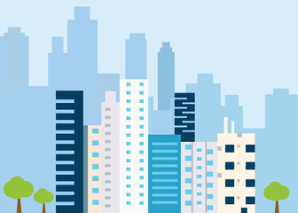 Urban landscape with large modern buildings. Concept city and suburban life - vector illustration