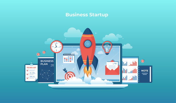 Business project startup, financial planning, idea, strategy, management, realization and success. Rocket launch from laptop monitor, business plan, notes, clock, target, calendar, checklist Vector