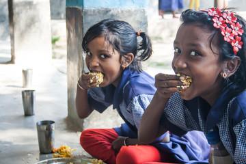 Indian School Children's having lunch