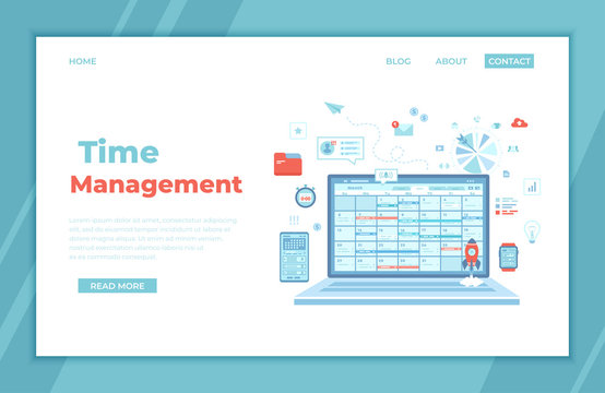 Time Management, organization, planning schedule, distribution of tasks. Laptop with schedule on the screen. application for computer, phone and smart watches. landing page for web, banner. Vector
