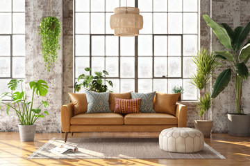 3d rendering of a bohemian style living room