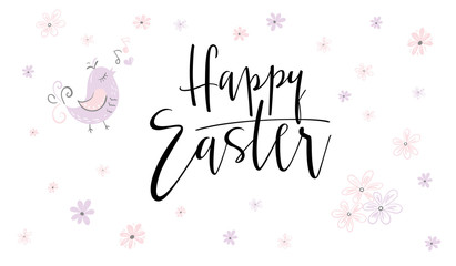 vector hand lettering happy easter phrase with doodle flowers