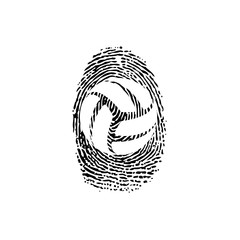 Fingerprint outline volleyball
