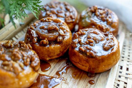 Homemade Sticky buns closeup.