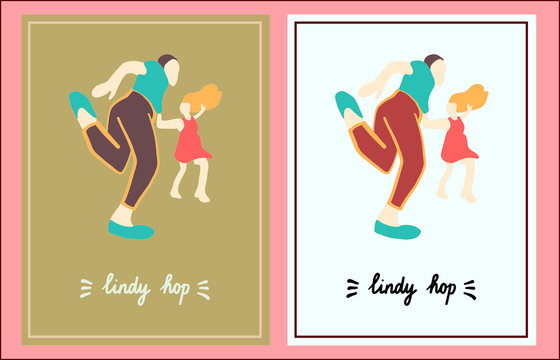 Lindy hop set of two illustration hand drawn in cartoon style