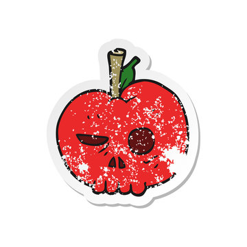 retro distressed sticker of a cartoon poison apple