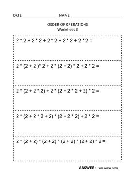 Math worksheet for students of all ages. Learn, reinforce math skills for children. Prevent alzheimer for adults. Mental math. Order of operations. No-prep printable for teachers. Answers included.