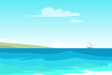 Seascape, seashore flat vector color illustration