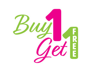 Green and Pink Buy one get one free icon with the word free on the number