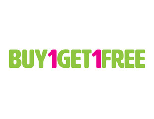 Green and Pink Buy one get one free one line icon
