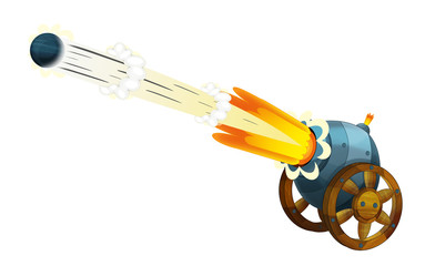 Cartoon cannon shooting steel ball on white background - illustration for the children