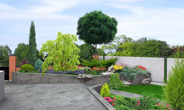 Front yard multi level landscaping, 3d render