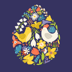 Easter egg filled with cute cartoon hen, cock and spring flowers, vector illustration isolated on dark background. Easter greeting card in egg shape filled with cute cartoon chicken and flowers