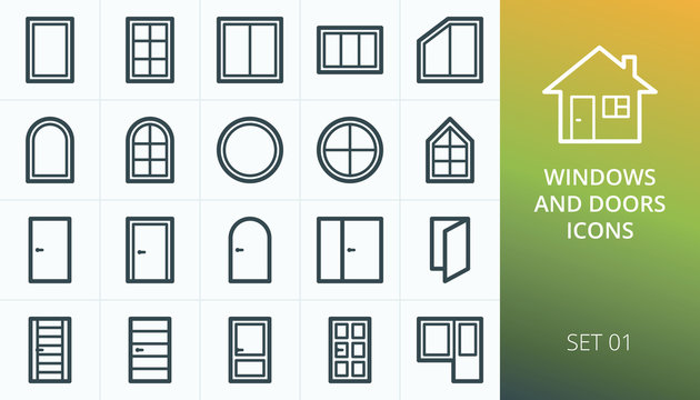 Windows and doors icons set. Set of wooden doors, pvc windows, round and circle window, plastic and glazed doors, main entrance front door isolated vector icons