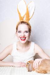 easter model girl bunny