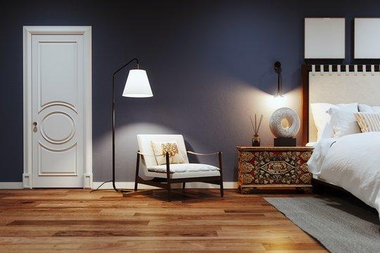 Scandinavian bedroom interior with armchair and cozy floor lamp 3D render