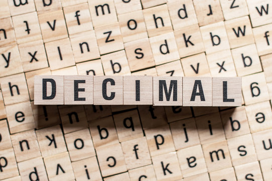 the word of DECIMAL on building blocks concept